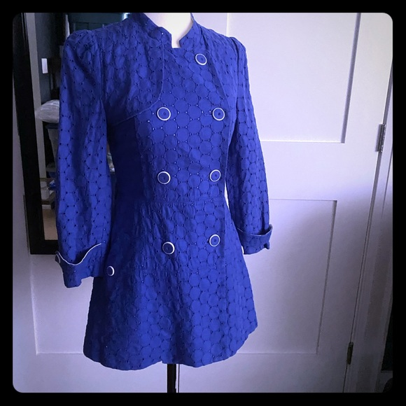 Olive des Olive Jackets & Blazers - Olive Des Olive Blue Eyelet Coat Beautiful Buttons